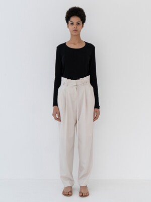 Pintuck wide pants [Ivory]