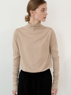 20SP FUNNEL-NECK KNIT TOP (BEIGE)