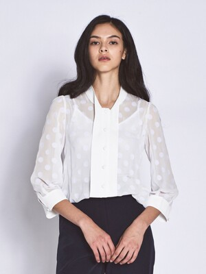Dot See Through Chic Blouses _ White