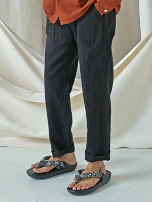 Linen fatigue pants _ black
