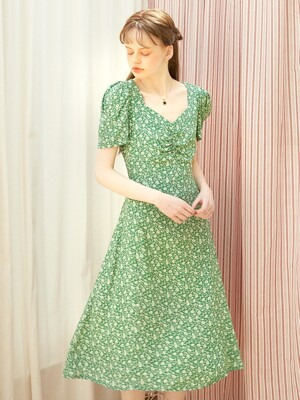Square Neck Midi Dress_ Green