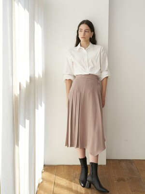 Silver Button Pleated Skirt_Beige