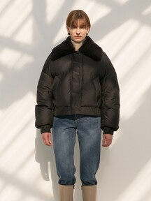 TTW FUR COLLAR GOOSE DOWN BOMBER BLACK