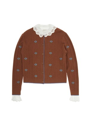 [SET]LILAC Floral cardigan (Brown) & APGUJEONG Ruffled eyelet collar blouse (Off white)