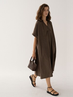 SS21 Maxi Shirt Dress From Japan (SHIBAYA) Washed-Brown