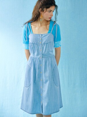 Ribbon sleeveless denim dress