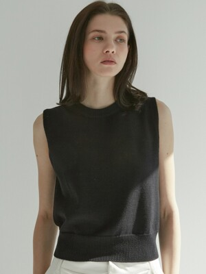 Plain Cotton Vest (Black)