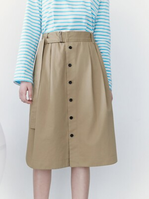 Front Button Belted Skirt camel (KE1227M02A)