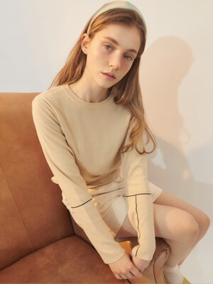 [BREEZE] Spring Sleeve Line Point Knit Top_BEIGE (CTD1)