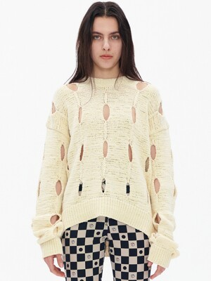 CUT-OUT COTTON SWEATER, CREAM