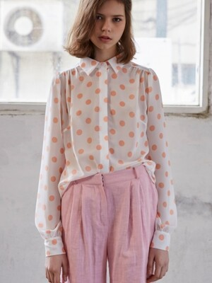four season dot shirring blouse_peach