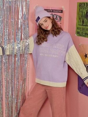 (TS-18714) SLEEVE COLOR BLOCK KNIT LAVENDER