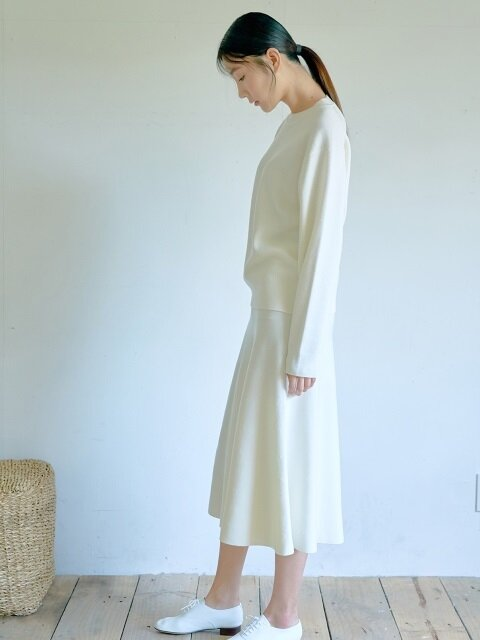 OFF WHITE WOOL KNIT FLARE SKIRT
