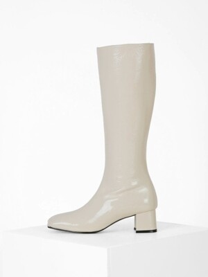 PATENT LONG BOOTS - IVORY