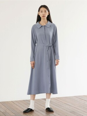 Round Collar Robe Dress - Blue
