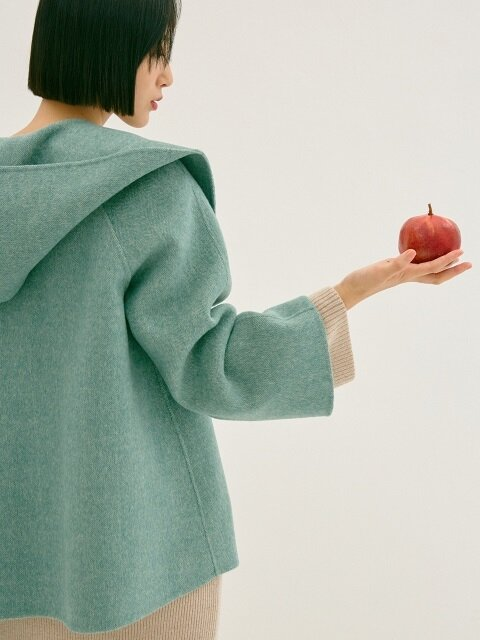 MINT REVERSIBLE WOOL SHORT HOOD COAT