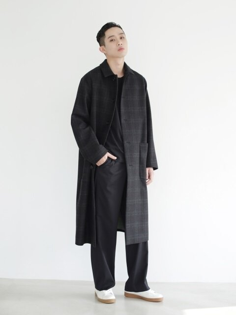 GREY CHECK LONG COAT