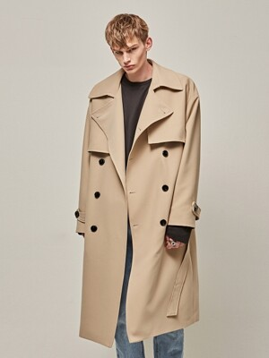MANNISH OVER TRENCH COAT_BEIGE