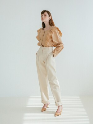 HIGH-WAISTED TWO TUCK PANTS IVORY