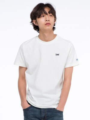 자수 스몰 로고 반팔티 EMBROIDERED SMALL LOGO HALF TEE-WHITE