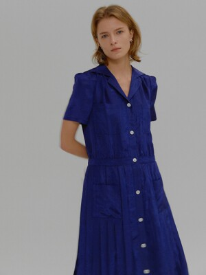 MALO Short-sleeve Pleats Shirt Dress Blue