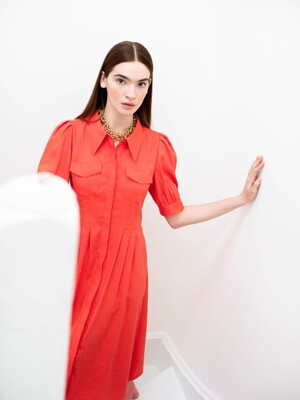 NOHO puffed shoulder shirt dress  (Tomato)
