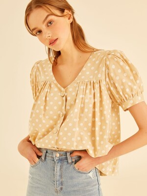 dot Balloon blouse[yellow]