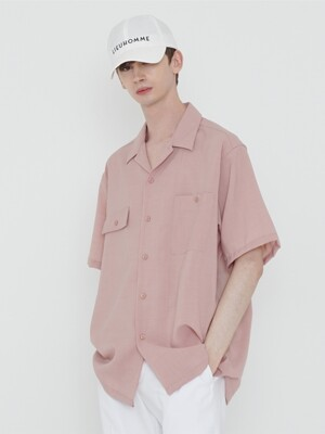 SOLID OPEN COLLAR SHIRT_PINK