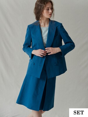 Sailor double-breasted Linen-blend jacket + skirt SET