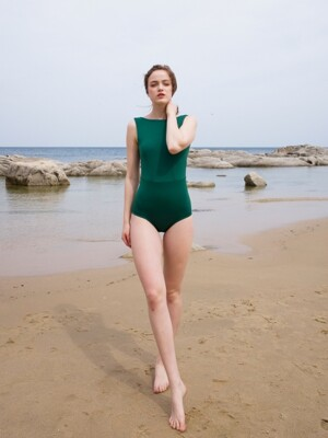 Boat neck swimsuit_green