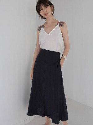 LINEN LONG SKIRT - DEEP NAVY