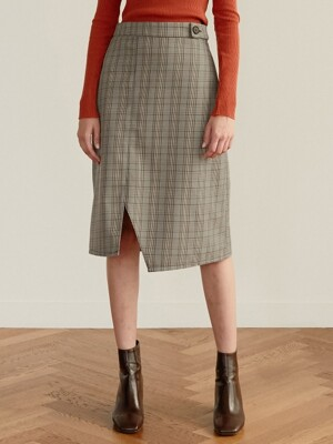 monts 960 check unbal skirt (brown)