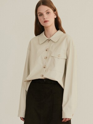 monts 979 imitation leather blouse (light beige)