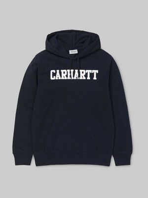 HOODED COLLEGE SWEATSHIRT_DARK NAVY/WHITE