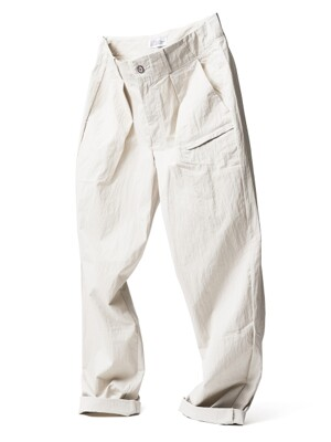Wide Tapered Pants Ivory