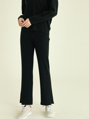 easy knit banding pants[black]