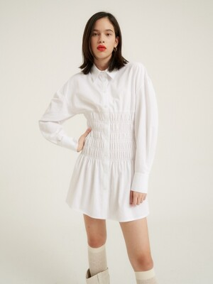 Shirring waist long shirt_Antique white