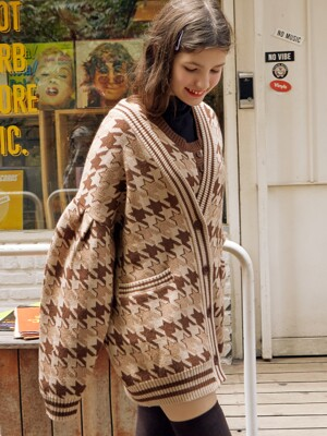 (CD-19731) HOUND TOOTH CARDIGAN BROWN