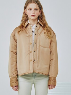 Oversize Reversible padding shirts Jacket [Beige]