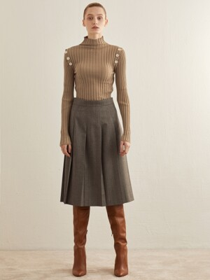ONE WAY PLEAT SKIRT_BEIGE