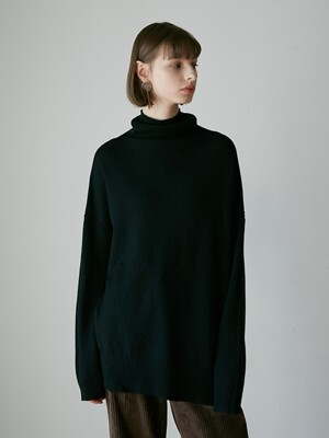 WARM LOOSE FIT  TURTLENECK KNIT BLACK