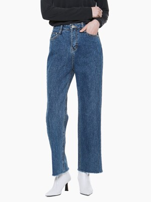LW010 CUTTING STRAIGHT DENIM PANTS_DARK BLUE