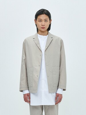 DOUBLE POCKET RELAXED BLAZER-SAND BEIGE