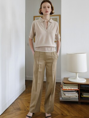 Wool Gaberdine Trousers in Beige