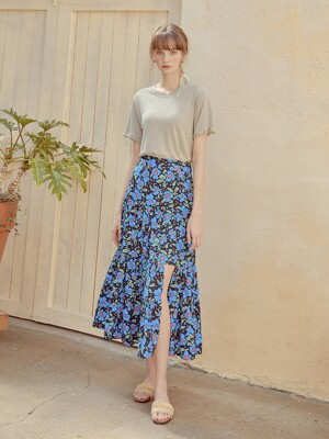 Slit Cancan Skirt, Blue
