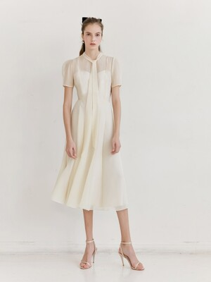 LILLE See-through Puff shoulder ribbon tie dress (Oatmeal)