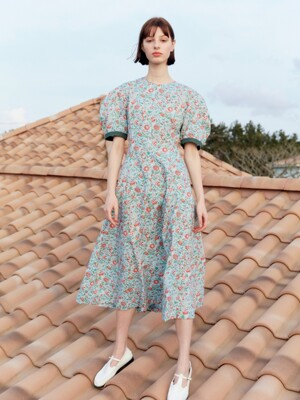 [20SS]POSITANO Bishop short sleeve dress (Blue Flower)