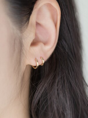 14k gold basic edge onetouch earrings (14k 골드)