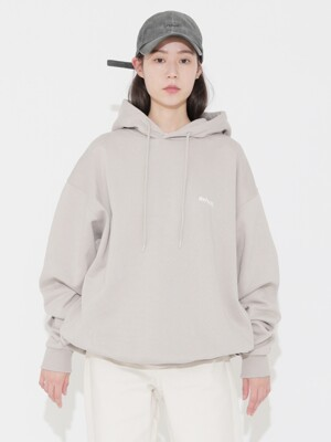 Back Embroidery Logo Hoodie Light Grey