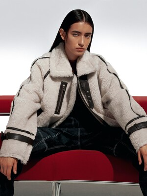 [EXCLUSIVE]Piped faux-shearling jacket(Mustang)